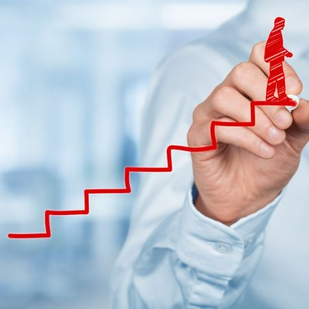 39381299 - personal development, personal and career finished growth, success, progress, motivation and potential concepts. coach (human resources officer, supervisor) helps employee with his growth.